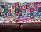 "Granny Squares BLANKET Afghan Crocheted 70"" x 50""  Sofa Throw"