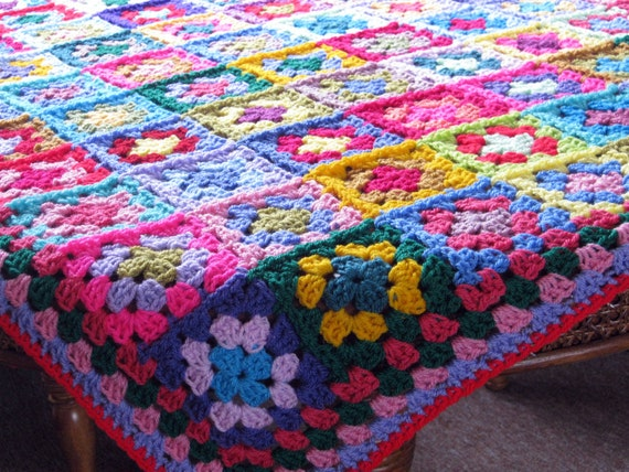 Cyber Monday Sales 20% Off Crochet Afghan Blanket Patchwork Granny Squares Bright Vibrant Throw
