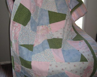 80's Never Used Vintage Handmade Baby Girl Crazy Quilt-Pink/Blue/Green Floral Patchwork Crib Quilt-Cottage Chic Vintage Baby Nursery Decor