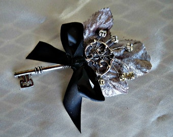 Alternative boutonniere ,  wedding,  brooch bouquet boutonniere gray leaf and key accent