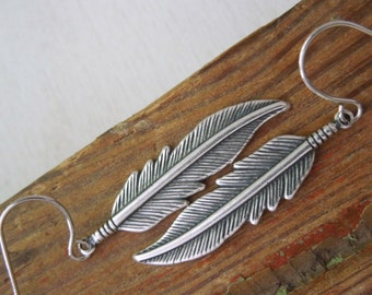 Feather Earrings - Small Antiqued Silver Feather Charm Earrings Silver Fish Hook Earwires