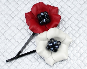 2 leather flower bobby pins, red poppy, white poppy black crystal beads woodland wedding bridal hair accessory, flower girl, bridesmaid gift