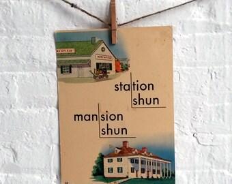 Vintage Large Flashcard Train Station Mansion  - Picture Flashcard Words
