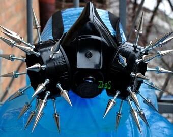 Black Cyber Mask Cyber Goth Respirator Gas Mask 35 Spikes Fetish Fetish Respirator Mask