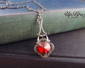 Alectrona--Swarovski siam red crystal,aged silver brass Victorian necklace-Gothic-Edwardian