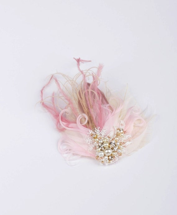 Wedding feather hairpiece accessory, Natural Headpiece Gold Champagne Nude Pink Blush Cream Ivory feather, rhinestone leaves