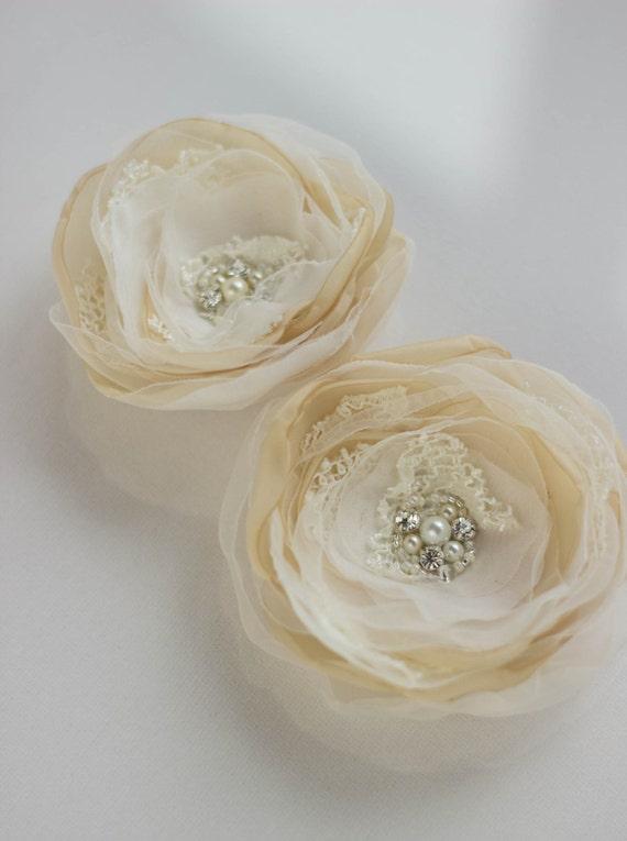 Bridal hair accessories, rustic hair accessories, champagne ivory beige flower hair clip, vintage wedding fascinator, Brooch/hair set 2