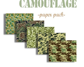 CAMOUFLAGE PATTERNS - Digital Paper Pack - 5 Camo Texture Papers  -Instant Download Digital Printable Papers  - DiY