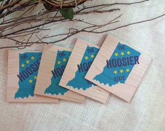 Indiana Wood Coasters - The Hoosier state Solid Wood Coasters - Set of 4