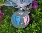 Twins First Christmas Ornament - Baby Feet, Pink and Blue - Personalized Handpainted Glass Ball, Twins Gender Reveal, Twins Baby Gift