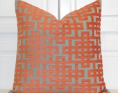Decorative Pillow Cover - Orange/Cray and Aqua Green - Trellis Pillow - Lattice - Geometric - Chenille Pillow - High End Sofa Pillow