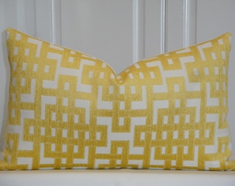 Decorative Pillow Cover - 12 x 18, 12 x 20, 12 x 16 - Sunshine Yellow - Trellis Pillow - Lattice - Geometric - Chenille