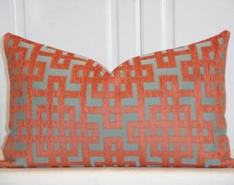 Decorative Pillow Cover - Orange/Cray and Aqua Green - Trellis Pillow - Lattice - Geometric - Chenille Pillow - High End Sofa Pillow