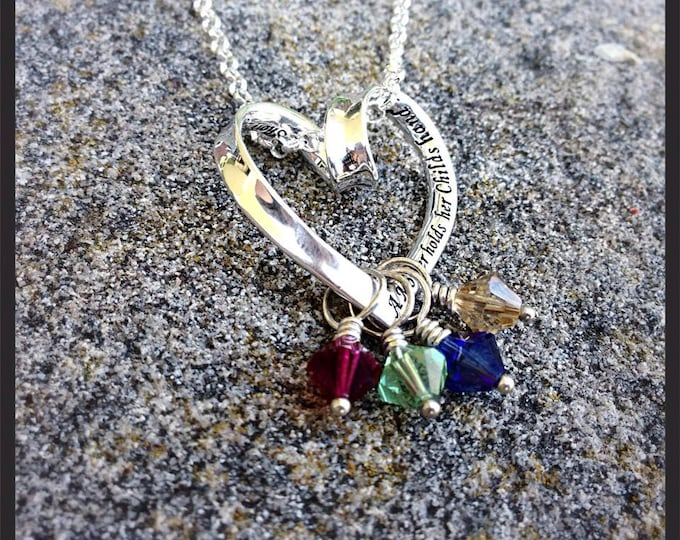 Sterling Mothers Necklace - any birthstones/crystal/pearl - Phrase Heart Engraved