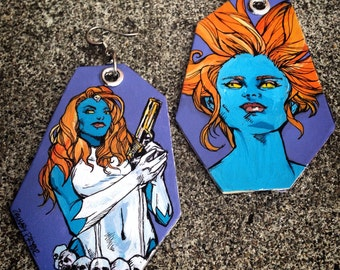 The Self Serving Seductive Shifter - hand-painted Mystique - X-Men comic book inspired earrings