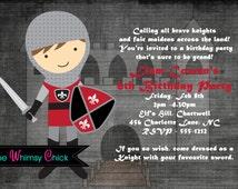 Knight Birthday Invitation, 1st Birthday Knight Party Invitations, Printable or Printed