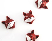 4 Fox Head Peruvian Ceramic Beads