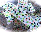 Confetti Dots Ribbon 5 yards- 7/8 inch Coral, lime, tropic, and navy printed nautical grosgrain hair bow craft ribbon