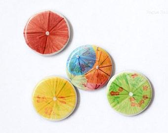 Drink Umbella Magnet Set - Tropical Drink Parisol Umbrella Magnet - Multi Colored Umbrella Magnets - Refrigerator Art - Locker Accessory