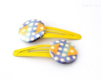 Yellow Blue Teal Fair Lights Abstract Barrettes Set of Two