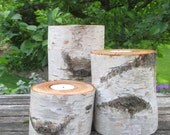 "Birch Bark Candle Holders 7"",5"",3"" Home Decor  Wedding Decor 4"" in Diameter Reception Centerpieces"