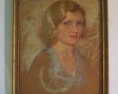 Vintage ART DECO Pastel Portrait Beautiful BLONDE Woman Framed Signed c.1920s As Found
