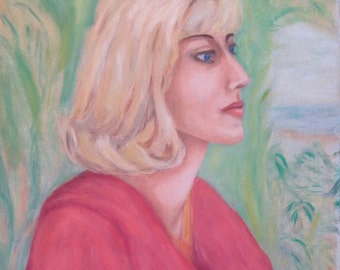 Vintage Oil Portrait BLONDE Pretty Woman Hobbyist Painting c. 1960s Mid-Century