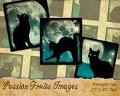"Black Cat on Teal Moonlit Skies .83"" x .75"" Scrabble Tile Images Halloween Digital Collage Sheet--Instant Download"