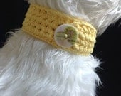 Yellow Crocheted Pet Collar 13 to 14 inch, 100% cotton yarn, Button Closure