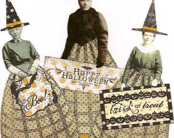 Halloween Witches Altered Art Mixed Media Paper Set of 3