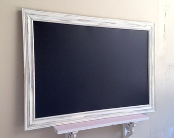 "READY to SHIP - Large Framed Chalkboard Distressed Home Magnetic Chalk Board 29""x41"" Kitchen Organizer Wedding Signage Sign White Modern"