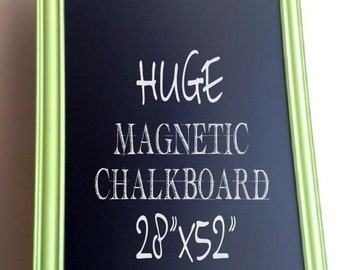 Playroom Wall Decor MAGNETIC CHALKBOARD Lime Green Kids Room Neon School Chalk Board Childrens Artwork Organizer Magnetic Black Board Large