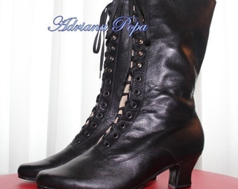 Victorian Booties Black Victorian Shoes Steampunk boots in Black Leather Lace up  Granny shoes  Ankle boots Granny Boots