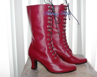Burgundy Victorian High Heel Lace up Boots Burgundy Leather Ankle boots Order your customized size