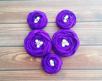 Purple Chiffon Roses Handmade Appliques Embellishments(5 pcs)