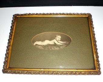 Baby Frederick, Antique frame, Antique photo, Victorian baby, gesso, matted, instant relative