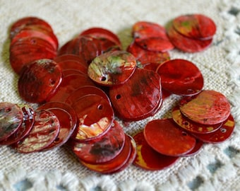 25pcs Mussel Shell Red Pendant Natural Drop 20mm Round
