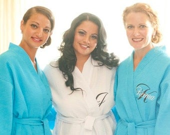 Set of 3 Wedding Party Bridal Party Bridesmaids Bride Maid of Honor Personalized Spa Robes Front embroidery included on each robe