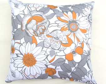 Grey and Orange Floral Throw Pillow 18in.x18in. Cotton