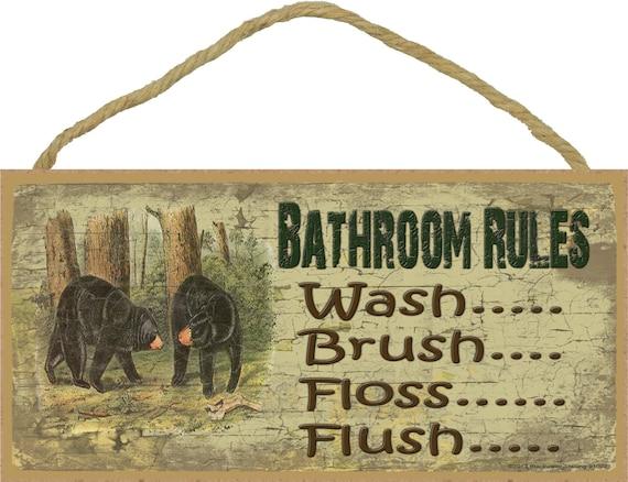 "Bathroom Rules Wash Brush Floss Flush BLACK BEARS 5"" x 10"" SIGN Plaque Lodge Rustic North Wood Cabin Decor"