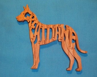 Great Dane Dog Breed Scroll Saw Wooden Puzzle