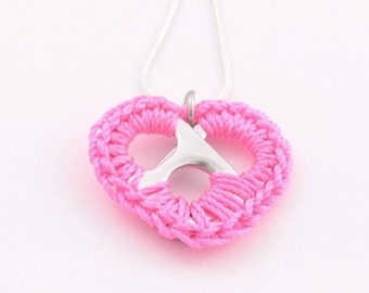 Neon pink pop tab heart necklace - crochet heart, 16 - 18 inch silver snake chain necklace - hot pink, pop tab, pull tab, ring tab