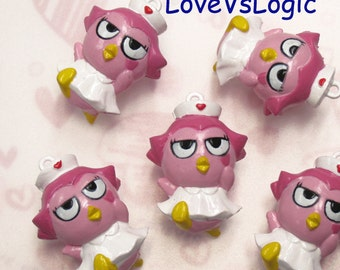 4 Chubby Bird Cosplay Nurse Plastic Charms