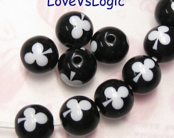6 Lucite Beads with Clubs. 2 Tones. 15mm. Black with White Clubs.