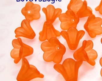 60 Acrylic Flower Beads.Matte Dull Orange.