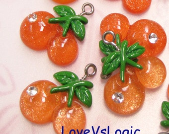 5 Glitter Juicy Cherry Lucite Charms