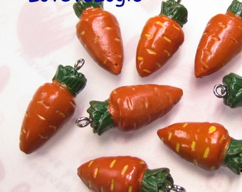 4 Baby Carrot Lucite Charms. Dark Orange Tone.