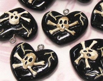 4 Puff Heart with Skull Crossbones Lucite Charms. Jet Tone.