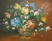 Little Floral Still Life in Oil on Hand Stretched Canvas