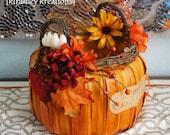 PUMPKIN CARD BASKET - Wedding Card Envelope Money Holder Fall Harvest Autumn Orange Pumpkin Reception Gift Table Decoration Centerpiece